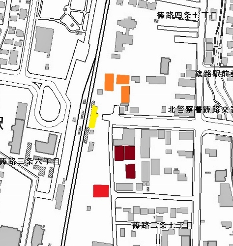 現在図 JR篠路駅周辺 倉庫の配置