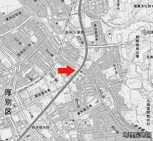 地理院地図 厚別東5条4丁目