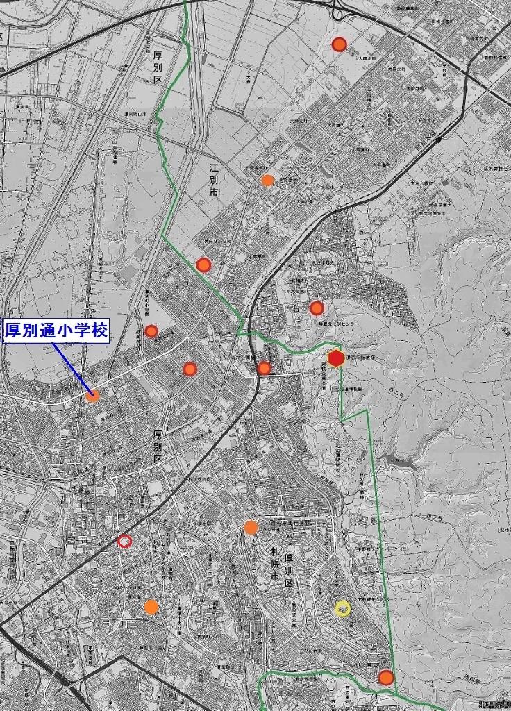 北海道百年記念塔 校章・校歌分布図 厚別通小学校
