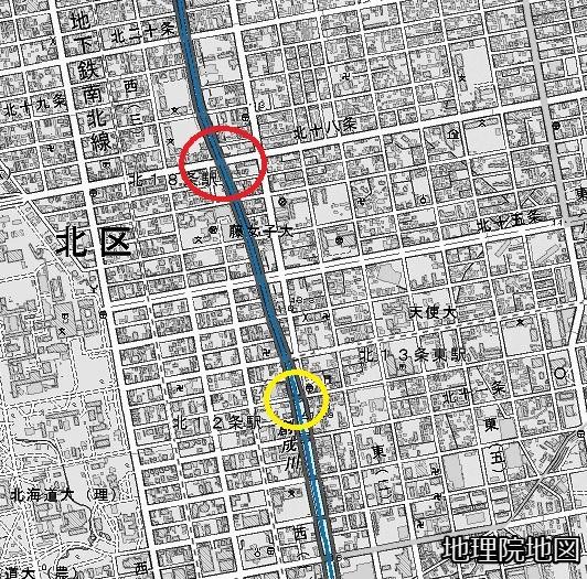 地理院地図 創成川 札幌駅以北