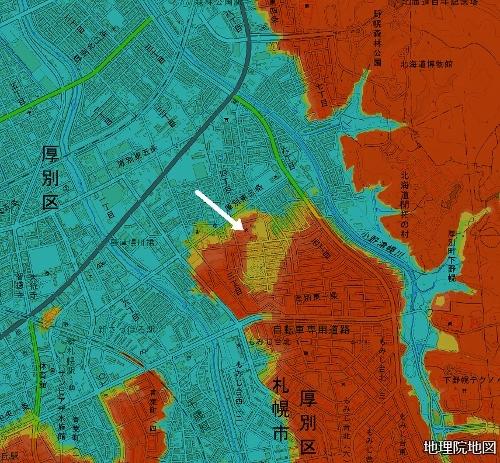 標高図 28m以下から1mごと色別 小野幌小学校周辺