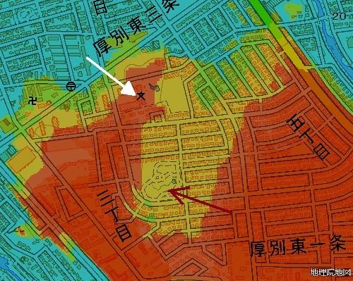 標高図 28m以下から1mごと色別 小野幌小学校周辺 拡大