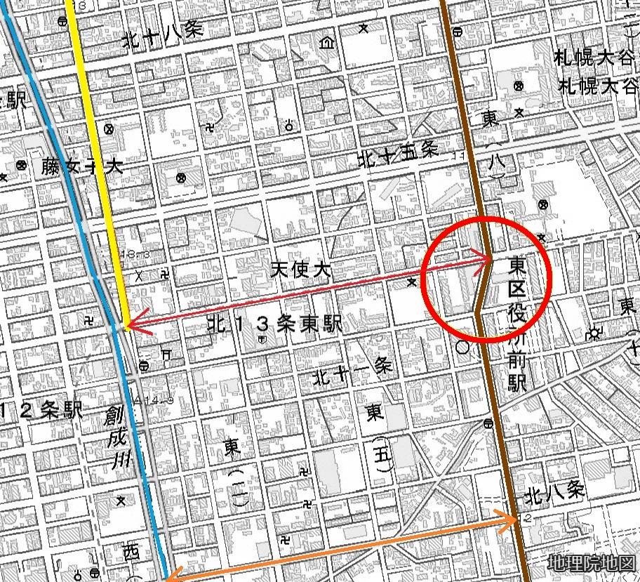 現在図 東8丁目通りクランク 東1丁目通りとの距離
