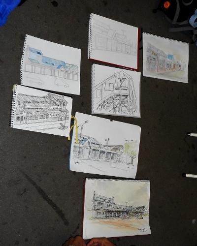 古き建物を描く会 第61回 苗穂駅 作品