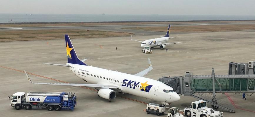 20180416神戸空港のスカイマーク機