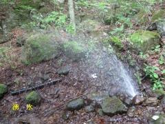 湧水が噴出している