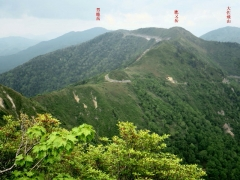 日留賀岳から鹿又岳、男鹿山、大佐飛山