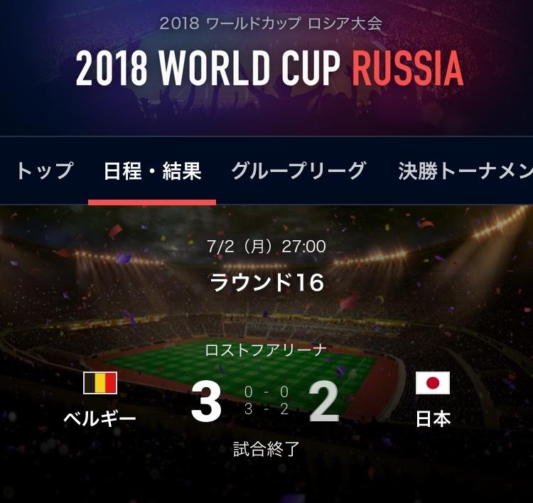 ベルギー対日本結果