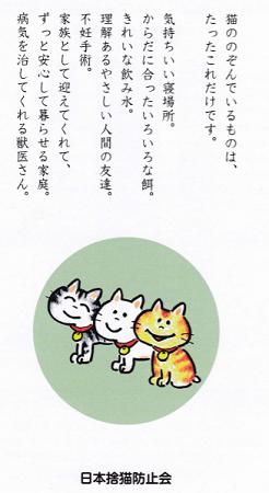 猫ののぞんでいるものは、、、日本捨猫防止会