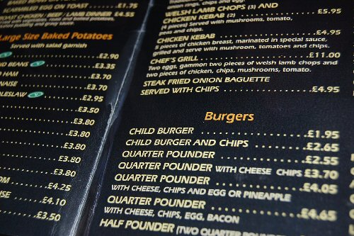 09f 500 menu Child Burger