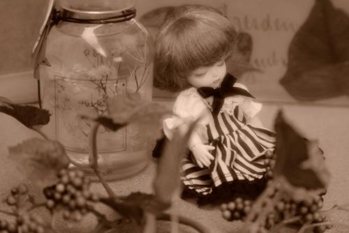 DOLL FACTORY・Baby Ariの小さな眠り目の子、Emma(エマ)。シックなハーバリウムと一緒に、セピアカラーで。