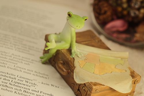 ツバキアキラが撮ったカエルのコポー。古びたトランクの上に地図を広げて、旅に思いを馳せるコポタロウ。