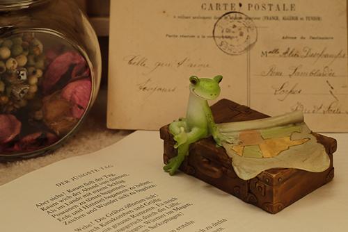 ツバキアキラが撮ったカエルのコポー。外国にいる友達からハガキが届き、古びたトランクの上に地図を広げて、想像を巡らせているコポタロウ。