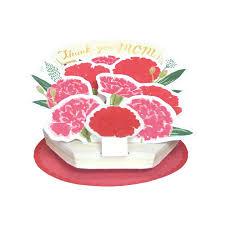 母の日フラワ-ポットカード レッド