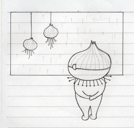 雨の日の玉ねぎ窓で何思う