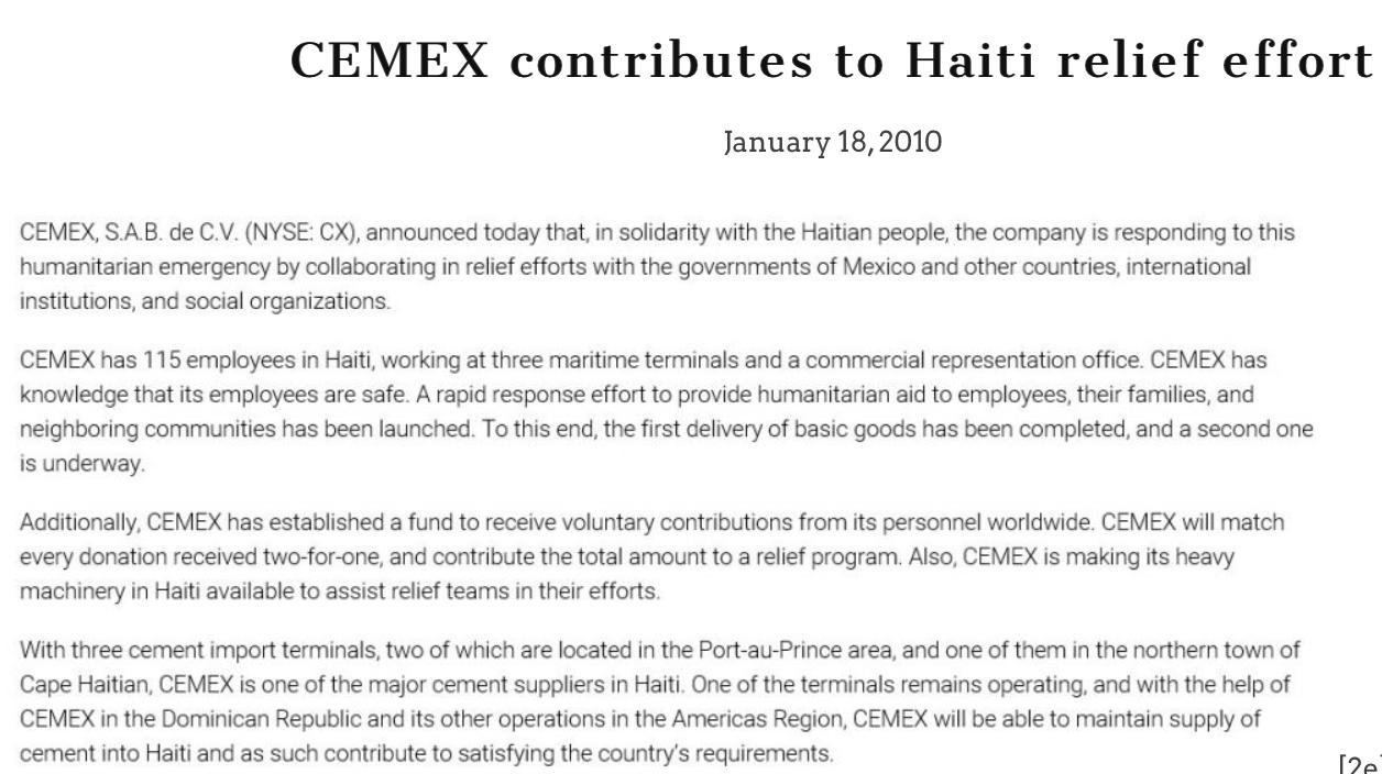 セメックスとハイチ