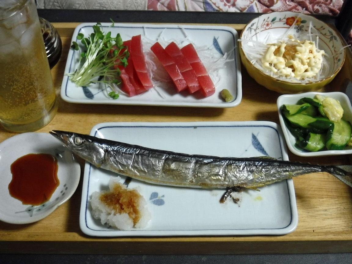 ブログ 焦げ目が足りないサンマの塩焼き 夕食.jpg