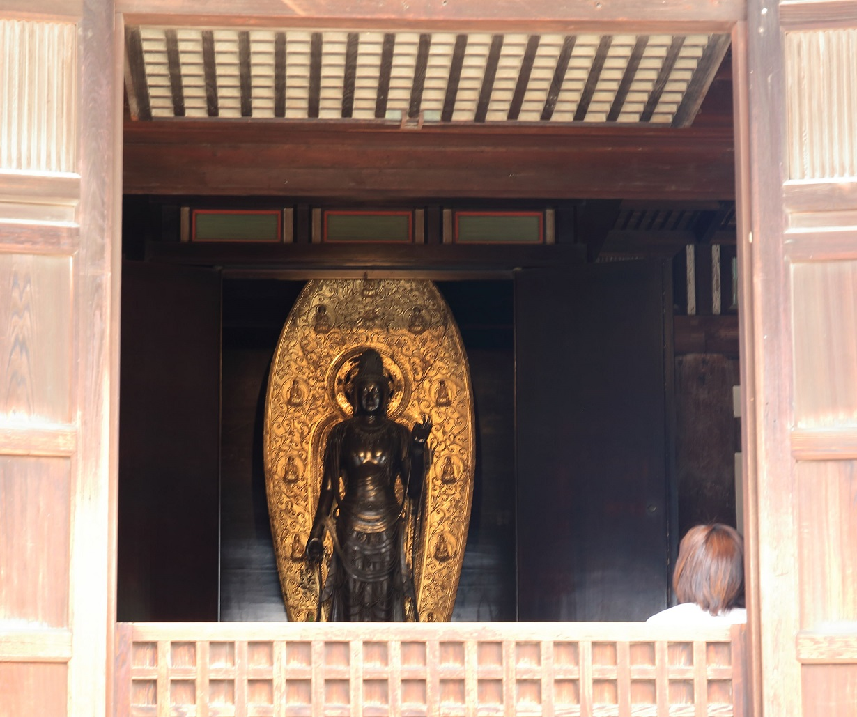 ブログ 薬師寺の東院堂 聖観世音菩薩様に見入る女性.jpg