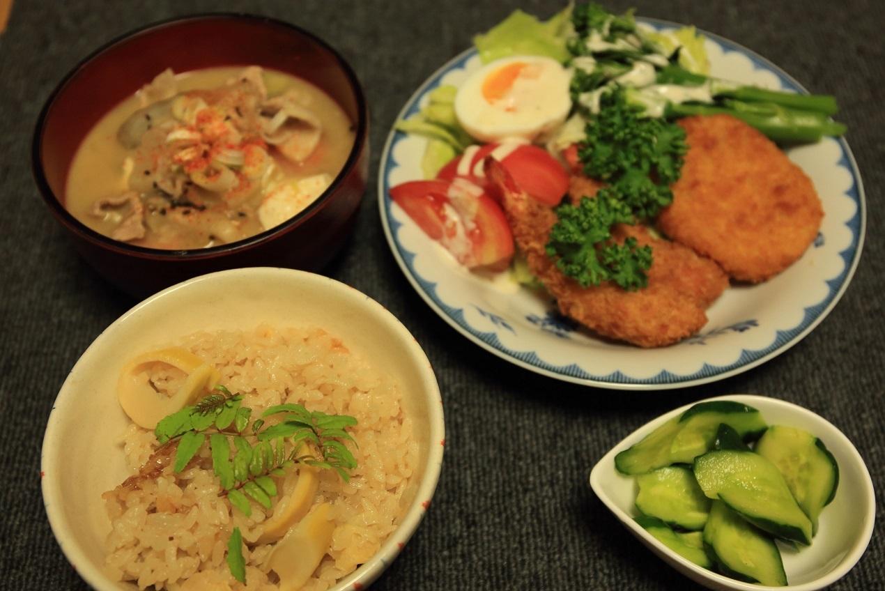 ブログ 夕食 たけのこご飯.jpg