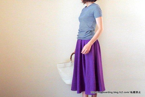 30代プチプラファッションロング・ミモレ丈スカート、LFOリネンタッチフレアスカート着用画像