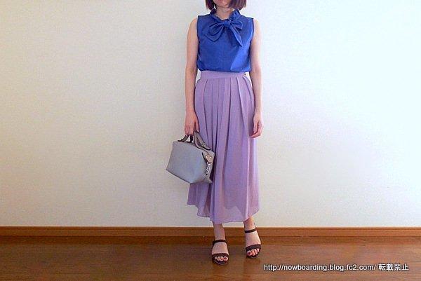 30代きれいめプチプラファッションブログ フリルネックノースリーブブラウス 着用画像
