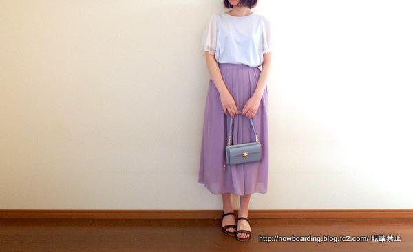 袖シフォンTシャツカットソー着用画像 30代きれいめカジュアルコーデブログ