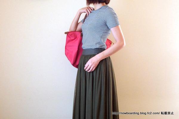 マキシチュールスカート着用画像 30代きれいめカジュアルコーデブログ