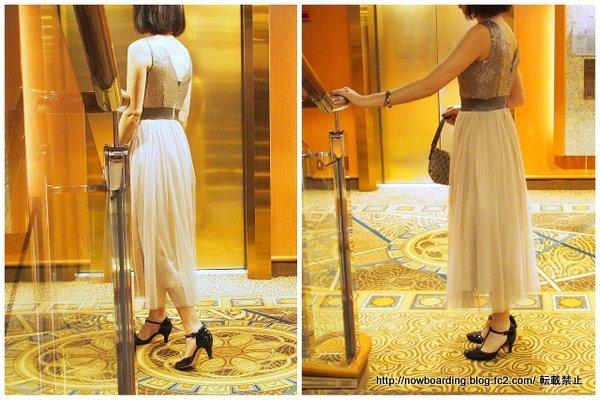 30代女性若い人のクルーズ旅行のフォーマルナイトで実際に着た服装のブログ レペットとアールズガウンアンクル・ミモレ丈ドレス