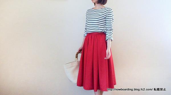 Happy急便のミモレ丈赤フレアスカート
