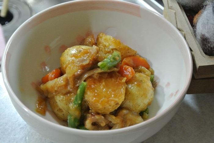 新じゃが、玉ねぎの甘辛煮2
