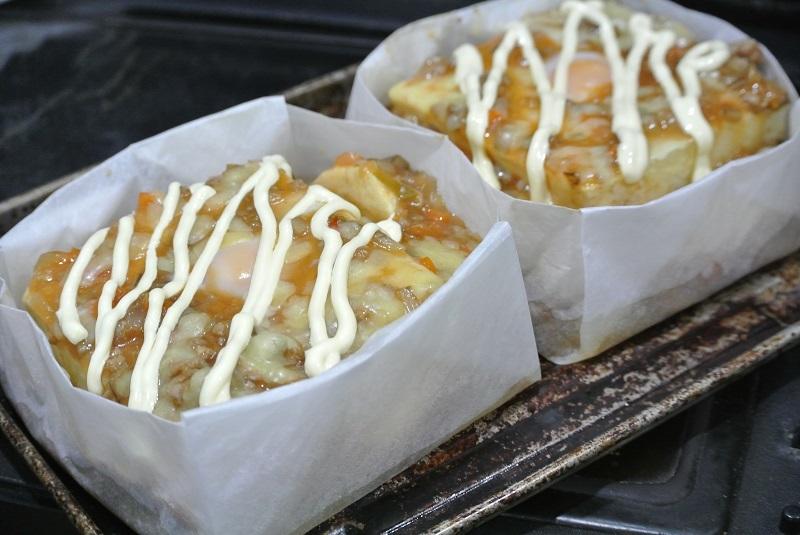 クッキングシートの箱で麻婆豆腐3