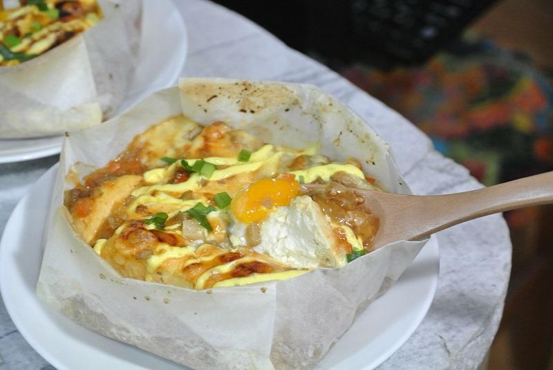 クッキングシートの箱で麻婆豆腐1
