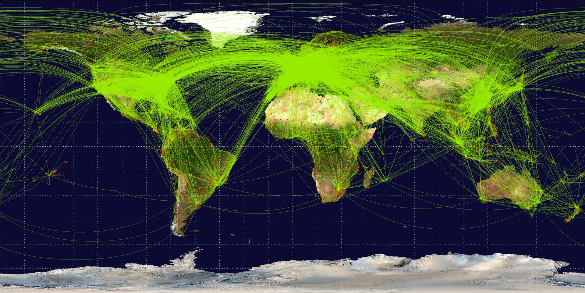 定期航空便路線図(2009年)