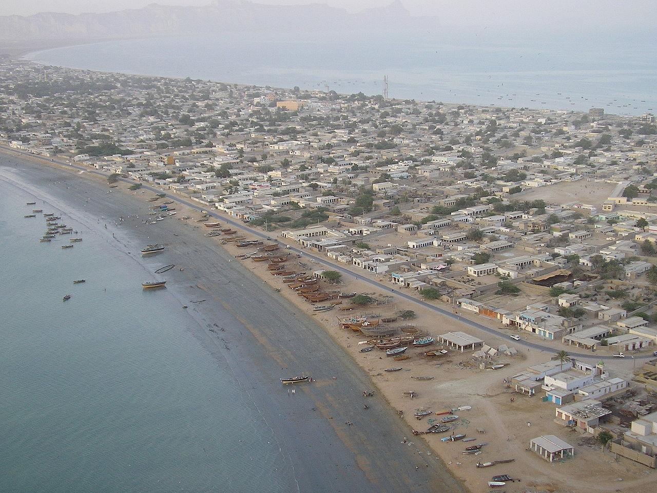 グワダルの海岸の上空からの光景