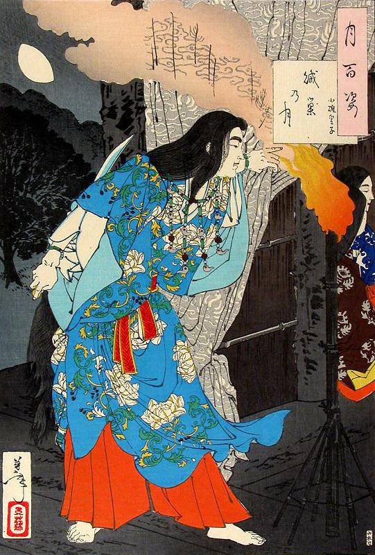 女装するヤマトタケル(月岡芳年画)