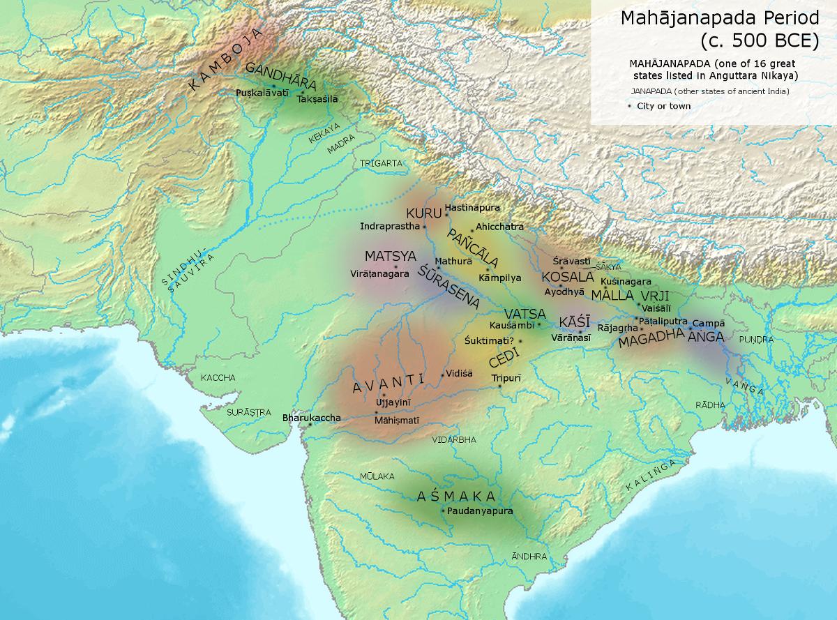 紀元前500年の十六大国の領域