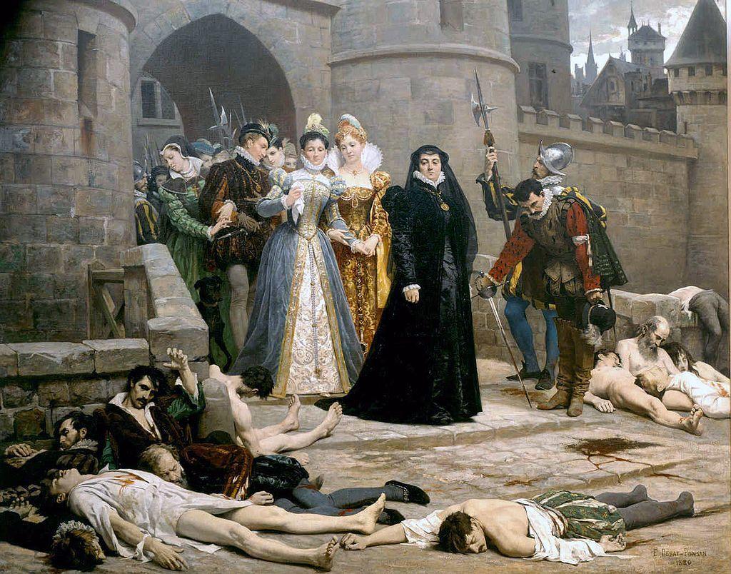 虐殺跡を視察する母后カトリーヌ・ド・メディシス