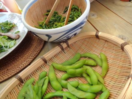 枝豆と菜花