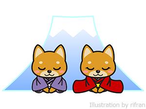 柴犬和服 富士山