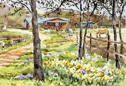 水仙の花と馬