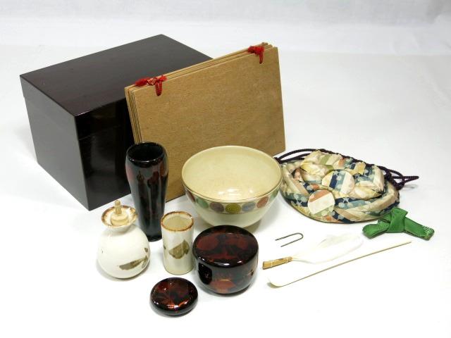木製 利休箱 茶箱 茶道具セット