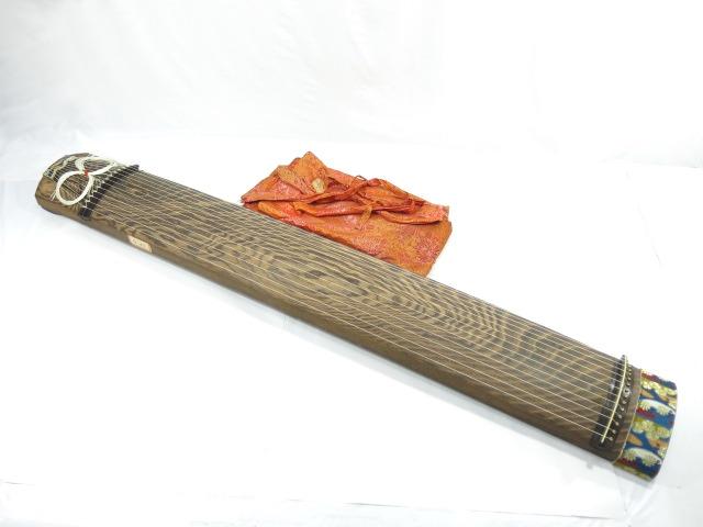 13弦琴 玉緑巻き 龍舌蒔絵 秀浦作 綾杉彫 和楽器