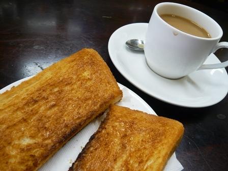ポットマン:ホットコーヒー、バタートースト