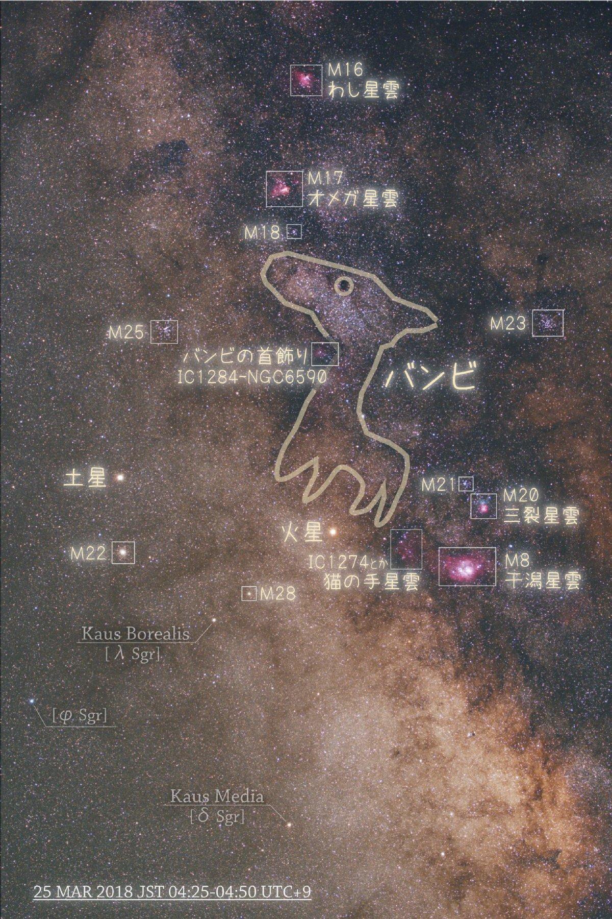 【星野】バンビ周辺と火星・土星コラボ