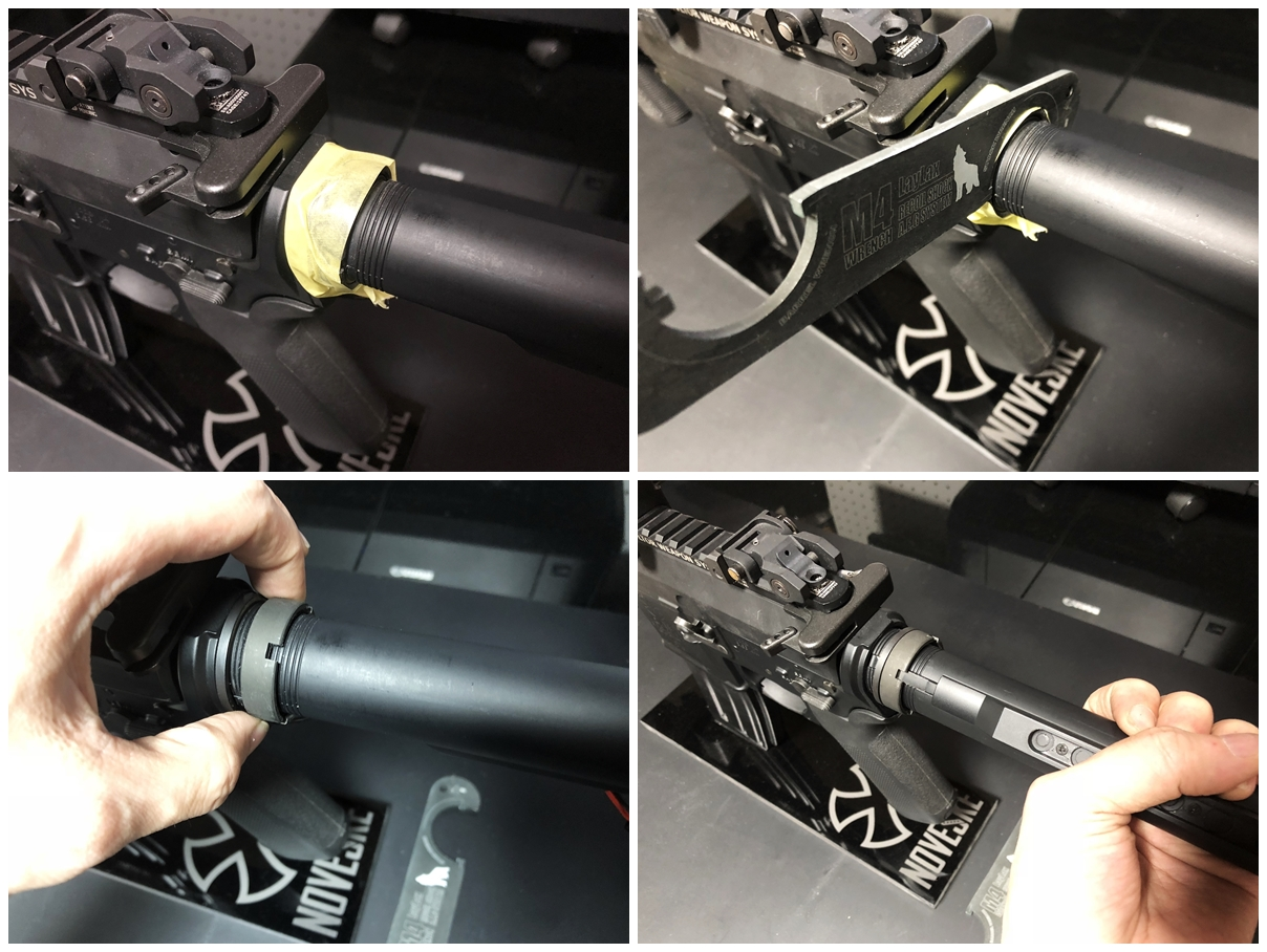 15 次世代 M4 CQB-R 電動ガン 実物 KAK ストック 取付 改造 カスタム 大作戦 第五弾!! やっと加工を再開!! 実銃 ストックパイプ AR フォールディング アダプター ダイス ネジ タップ 切り 加工 仮組 取付 道具 購入