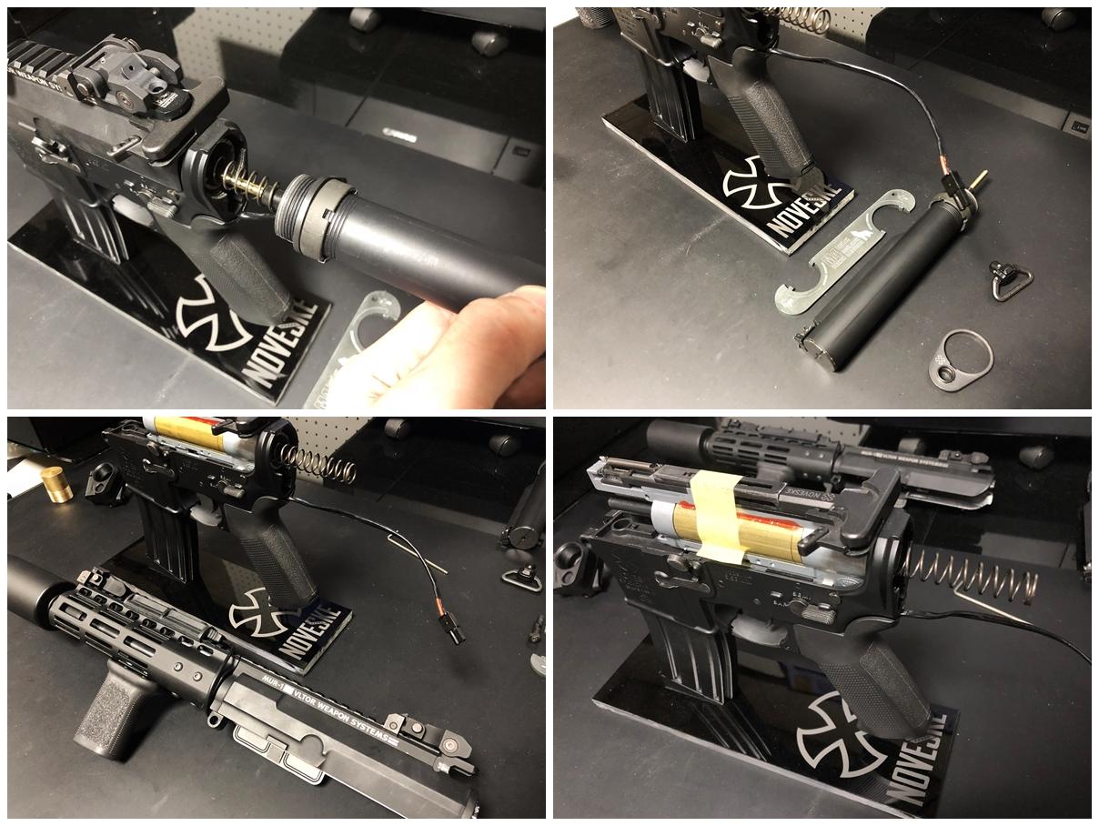 16 次世代 M4 CQB-R 電動ガン 実物 KAK ストック 取付 改造 カスタム 大作戦 第五弾!! やっと加工を再開!! 実銃 ストックパイプ AR フォールディング アダプター ダイス ネジ タップ 切り 加工 仮組 取付 道具 購入