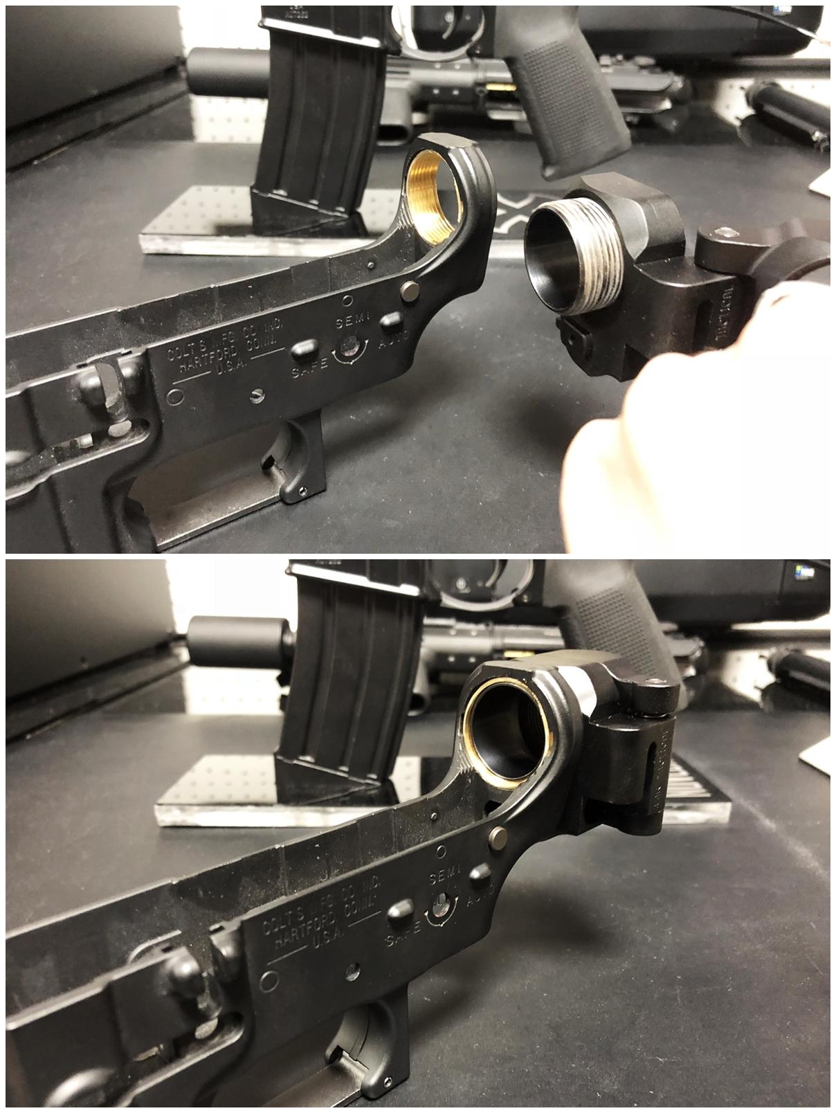 23 次世代 M4 CQB-R 電動ガン 実物 KAK ストック 取付 改造 カスタム 大作戦 第五弾!! やっと加工を再開!! 実銃 ストックパイプ AR フォールディング アダプター ダイス ネジ タップ 切り 加工 仮組 取付 道具 購入