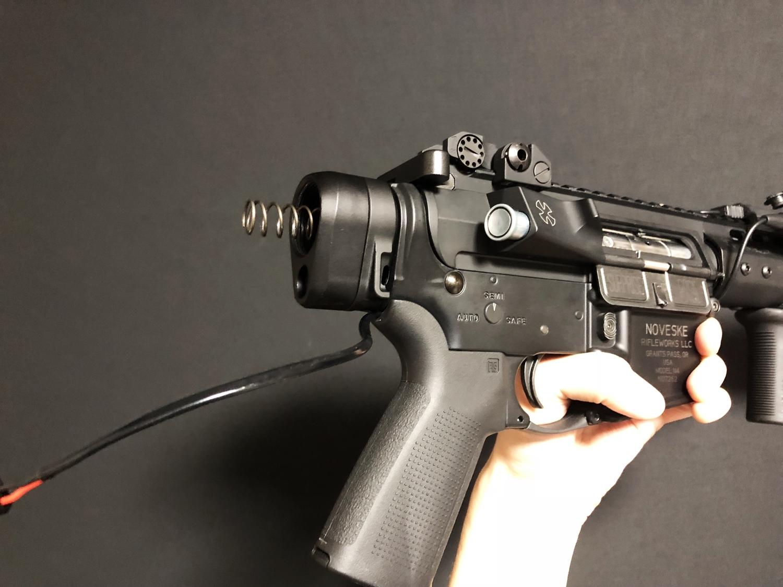 30 次世代 M4 CQB-R 電動ガン 実物 KAK ストック 取付 改造 カスタム 大作戦 第五弾!! やっと加工を再開!! 実銃 ストックパイプ AR フォールディング アダプター ダイス ネジ タップ 切り 加工 仮組 取付 道具 購入