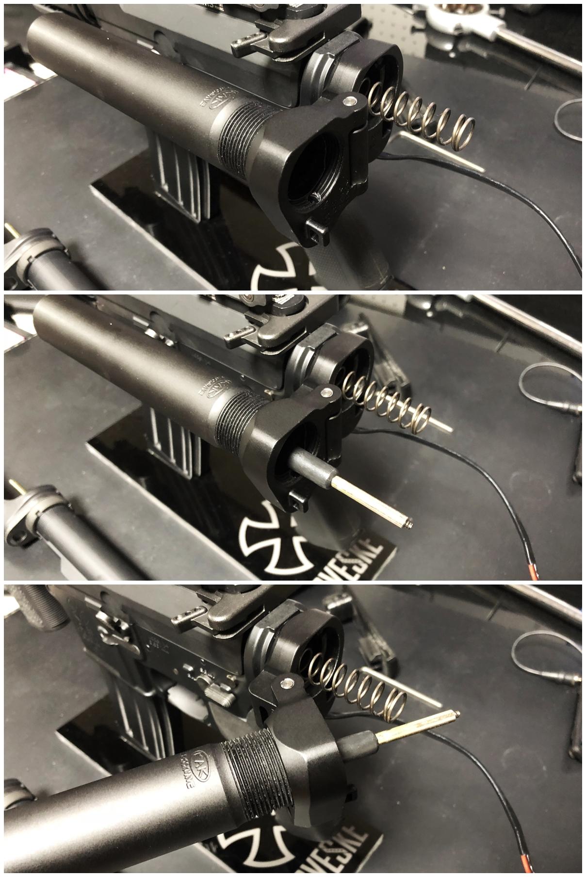 31 次世代 M4 CQB-R 電動ガン 実物 KAK ストック 取付 改造 カスタム 大作戦 第五弾!! やっと加工を再開!! 実銃 ストックパイプ AR フォールディング アダプター ダイス ネジ タップ 切り 加工 仮組 取付 道具 購入