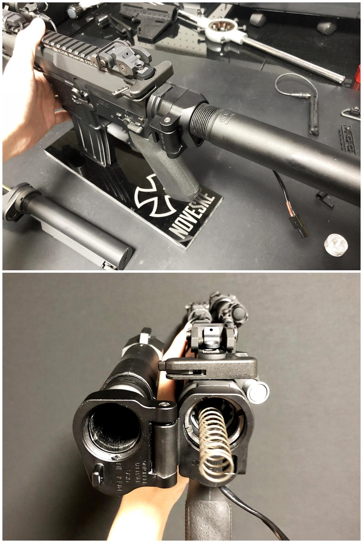 32 次世代 M4 CQB-R 電動ガン 実物 KAK ストック 取付 改造 カスタム 大作戦 第五弾!! やっと加工を再開!! 実銃 ストックパイプ AR フォールディング アダプター ダイス ネジ タップ 切り 加工 仮組 取付 道具 購入